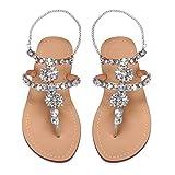 azmodo Women's PU Rhinestones Chains Flat Gladiator Sandals 1625 (Plus (10.5 M US, Silver)