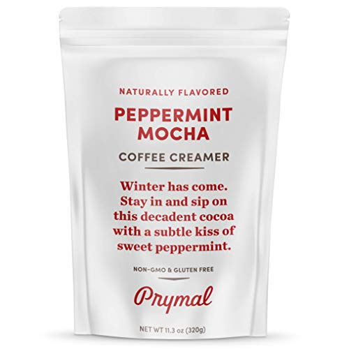 PRYMAL Peppermint Mocha Coffee Creamer - Keto, Non Dairy, Sugar Free - 100% Natural, Non Refrigerated Powder with MCT - 11.3oz Bag