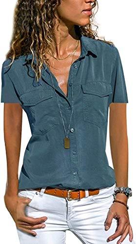 Enjoyoself Damen Kurzarm Bluse V Ausschnitt Sommerbluse Button Down Hemd mit Brusttasche Fließend Blusenshirt,Türkis,XL