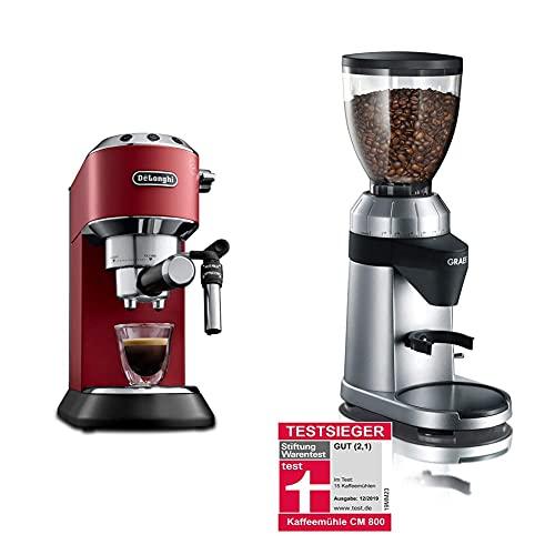 De\'Longhi Dedica Style EC 685.R Espresso Siebträgermaschine, nur 15 cm breit, 1 Liter Wassertank, Vollmetallgehäuse, E.S.E Pads geeignet, rot & Graef Kaffeemühle CM 800