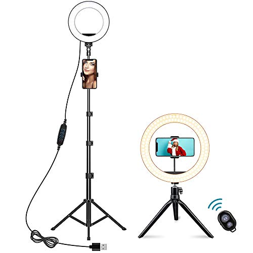 Ring Light with Tripod Stand and Phone Holder, FURANDE 10' Dimmable Makeup Light, 3 Light Modes 10 Brightness Selfie Ring Light for Live Stream/Photography/YouTube, Compatible with iPhone/Android