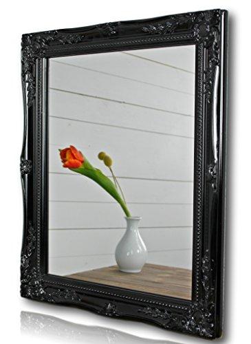 elbmöbel Wandspiegel rechteckig in schwarz antik mit Patina 37 x 47cm | Spiegel barock | im Landhausstil als Badspiegel | Schminkspiegel BZW. Frisierspiegel für das Landhaus