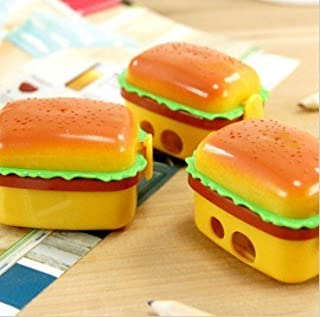 Sshakuntlay® Cute Newest Imported Hamburger Double Blade Pencil Sharpener with Eraser School Stationary for Kids/B'Day Return Gifts (Pack of 6)