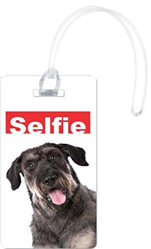 Rikki Knight Selfie Giant Schnauzer Dog Design Flexi Luggage Tags, White