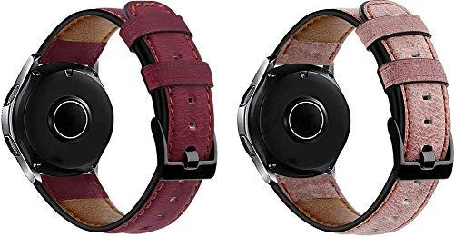 Simpleas Correa de Reloj Compatible con Amazfit Pace/Stratos/Stratos +, Cross Piel Correa/Banda/Pulsera/Reemplazo (22mm, Rosa + Rosado)