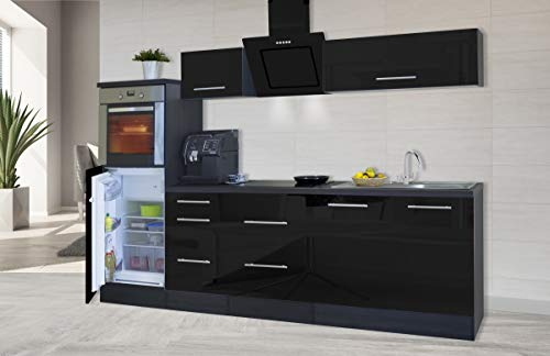 respekta Cocina Pequeña Cocina Bloque de Cocina Cocina Amueblada y Equipada Alto Brillo 270 cm Roble - Negro, 270 cm