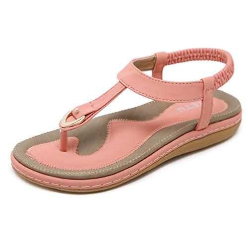 ZAPZEAL Damen Sandalen Zehentrenner Bohemian Strass Flach Sandaletten Sommer Strand Schuhe Rosa 38 EU