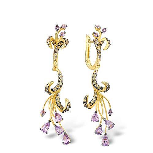 MZNSQB Pendientes de Oro para Mujer Pure 14k 585 Oro Amarillo Diamante Brillante Amatista Zafiro Amarillo Boda única Joyería Fina
