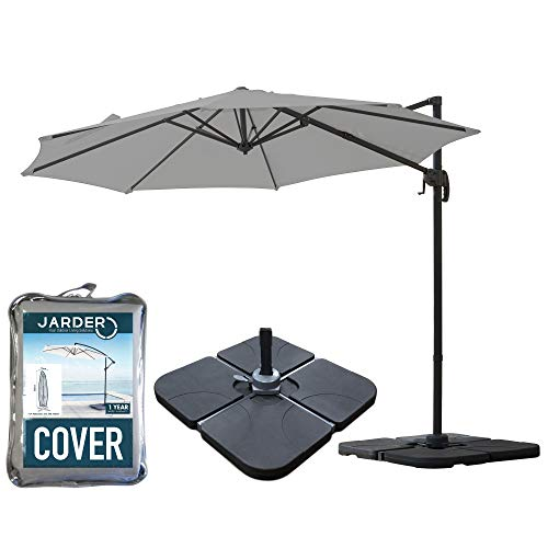 Jarder Milan Parasol Set - 3m Cantilever Garden Parasol Umbrella with Base & Cover | 360° Rotation (Grey)