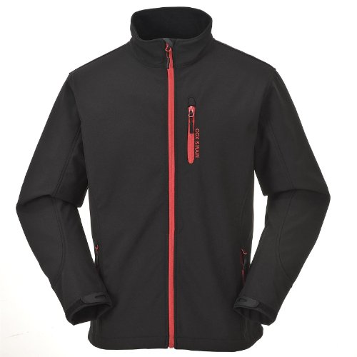 Cox Swain Herren 3-Lagen Outdoor Softshell Jacke Alto - 8.000mm Wassersäule - 2.000mm atmungsaktiv, Colour: Black/Red Zipper, Size: M