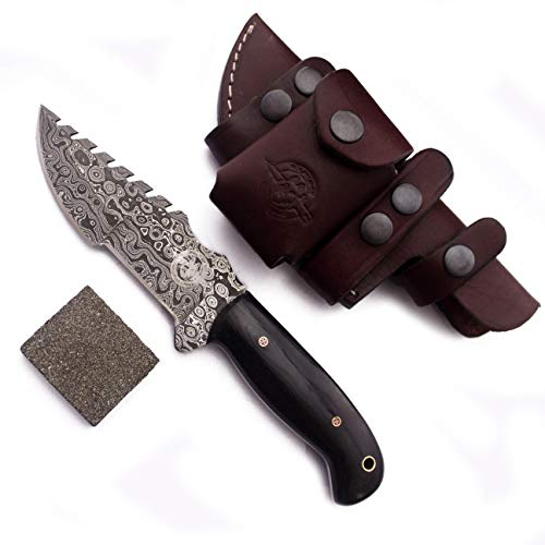 WolfKlinge Handmade Damascus Steel Knife EDC for Hunting, Bushcraft, Tracker Knife with Fixed Blade G10 Handle with Cowhide Leather Sheath - DCX 17-38
