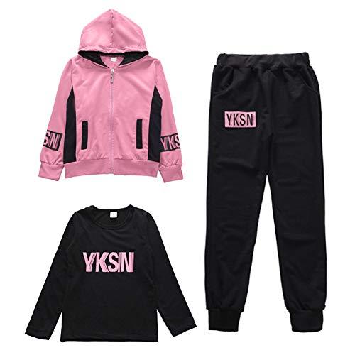 L PATTERN Kinder Mädchen 3tlg Jogginganzug Trainingsanzug Sportanzug Freizeitanzug Outfit-Set Bekleidungsset Zweiteiler(Sweatshirt+Sweathose+T-shirt), Rose, 110-116
