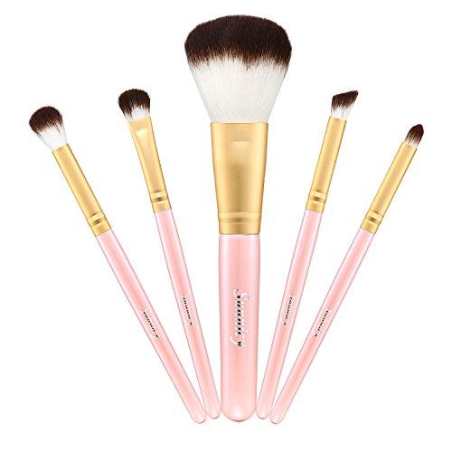 Kit de Pinceau maquillage Professionnel 5 PCS Ombre à Paupière Doré Blush Fondation Pinceau Poudre Fond de teint Anti-cerne Kit Pinceaux avec sac (5 Pcs Pink)