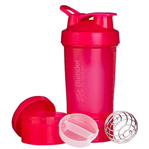 Blender Bottle ProStak - 22oz Protein Shaker Cup Water Bottle incl 150cc and 100cc Jar,Fashion Pink,650 ml