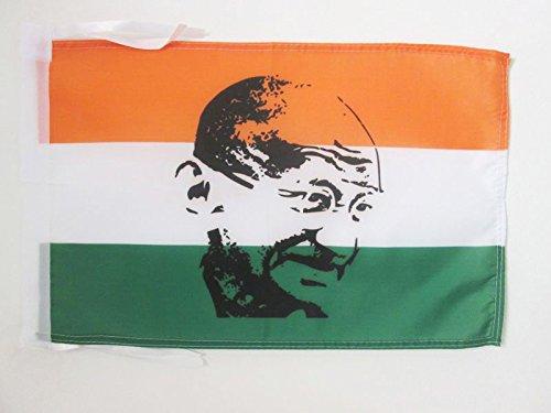 AZ FLAG Flagge Indien MIT GHANDI 45x30cm mit Kordel - INDISCHE Fahne 30 x 45 cm - flaggen Top Qualität