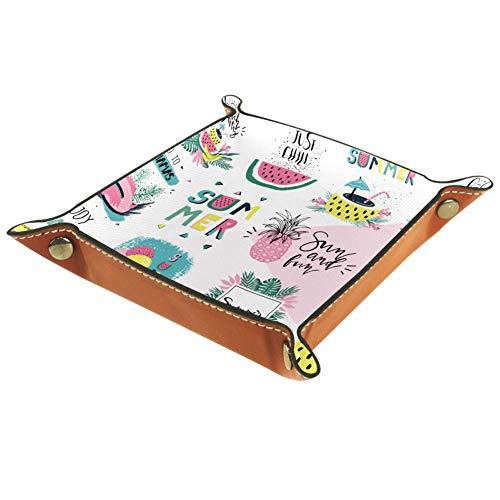 ASDQWE Summertime - Bandeja de piel con elementos tropicales para guardar dados con hebilla, organizador de joyas para hombres, llaves, monedero, viaje, Elementos tropicales de verano, 16x16cm