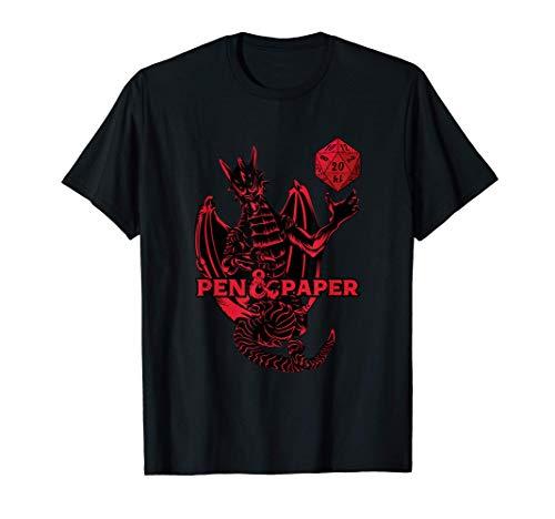 Pen and Paper - Dragón de juego de rol de mesa con dados Camiseta