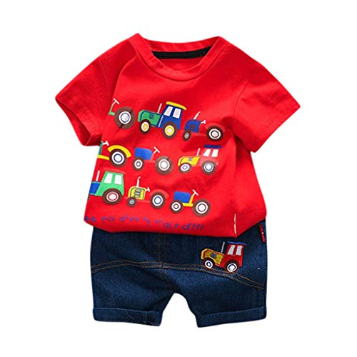 LEXUPE Kleinkind Kinder Baby Jungen Cartoon Auto Brief T Shirt Tops Denim Shorts Outfits Set(Rot,80)