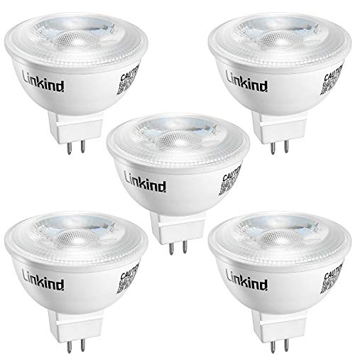 Linkind LED GU5.3 MR16 5W Lampe, 40W 50W Halogenlampe ersetzt, Warmweiß 36° Abstrahlwinkel Spotlight, 520lm AC/DC 12V LED Glühbirne nicht dimmbar, 5er Pack