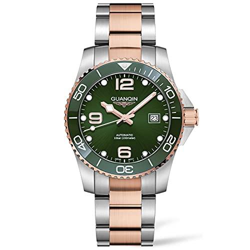 Reloj de Buceo con Movimiento automático, diseño clásico, para Hombre, 100 m, Impermeable, Fecha, Negocios, Casual, de Moda, para Hombres con Correa de Acero Inoxidable