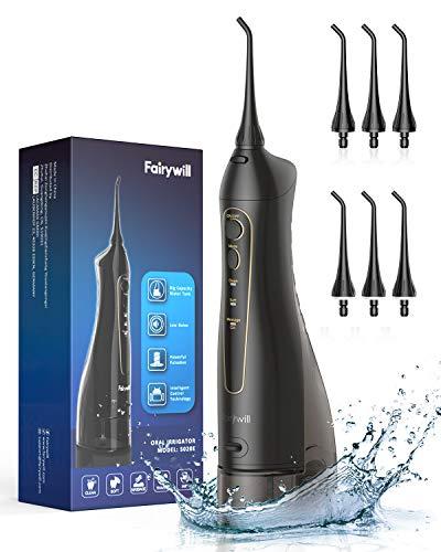 Munddusche Elektrisch für Zahnreiniger, Fairywill Mundduschen Kabellos 300ML Wasser Flosser mit 3 Modi und 6 Düsen, 4 Stunden USB-Aufladung Mindestens 21 Tage Nutzen, IPX7 Wasserdicht, Reisen