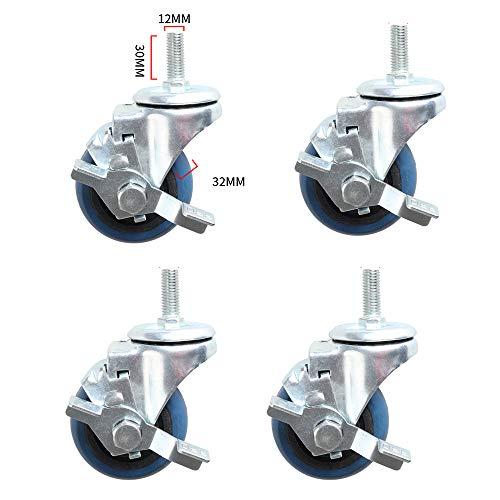 HXLQ zwenkwielen, verwisselbare wielen voor bureaustoelen, wielen met remmen, industriële wielen, 360 graden draaibaar, draagkracht 400 kg, 4 stuks