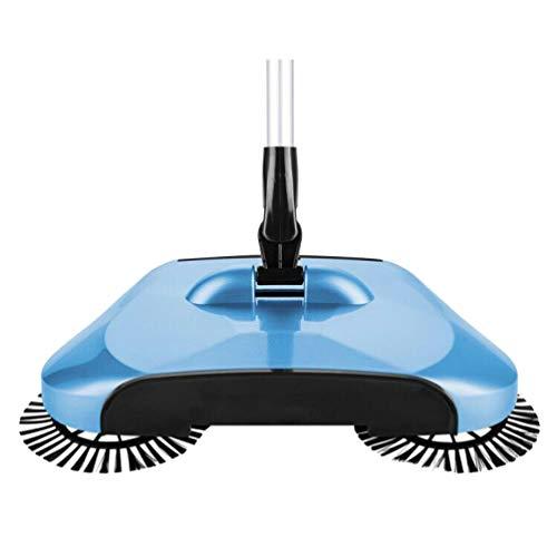 Vosarea Push Sweeper Boden Teppich Sweeper Manuelle Kehrmaschine Reiniger 360 ° Drehbarer Bodenreinigungsmopp für zu Hause (Blau)