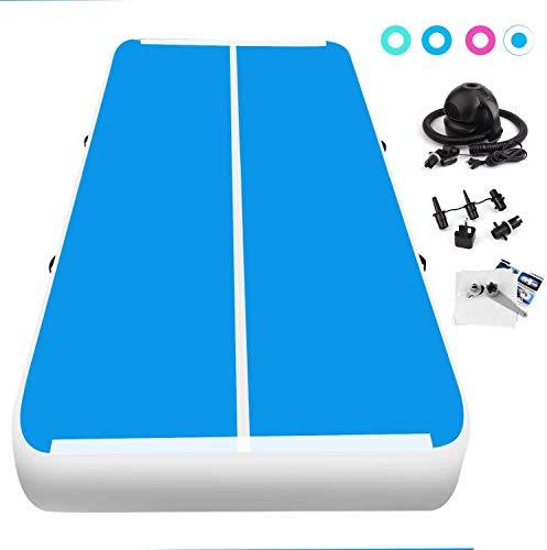 FBSPORT 10cm hoch 3M Aufblasbar Gymnastik Tumbling Matte Air Track,Trainingsmatte mit Luftpumpe,Gymnastikmatte mit Tragetasche