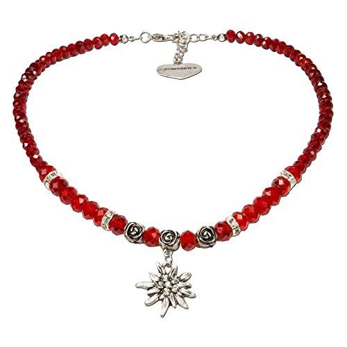 Alpenflüstern Perlen-Trachtenkette Fiona Crystal mit Strass-Edelweiß klein - Damen-Trachtenschmuck Dirndlkette rot DHK155