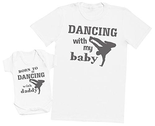 Zarlivia Clothing Born to Go Dancing with Daddy - Ensemble Père Bébé Cadeau - Hommes T-Shirt & Body bébé - Blanc - Large & 12-18 Mois