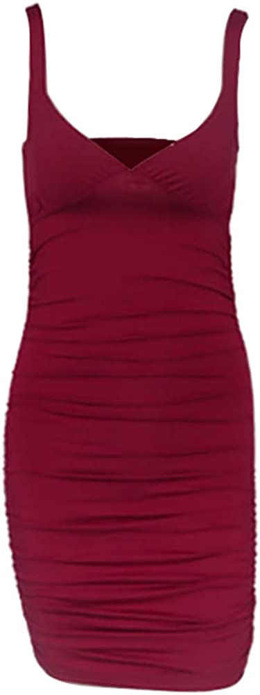 acelyn Women's Sexy Deep V-Neck Short Dress Ruched Sleeveless Bodycon Club Party Mini Dresses