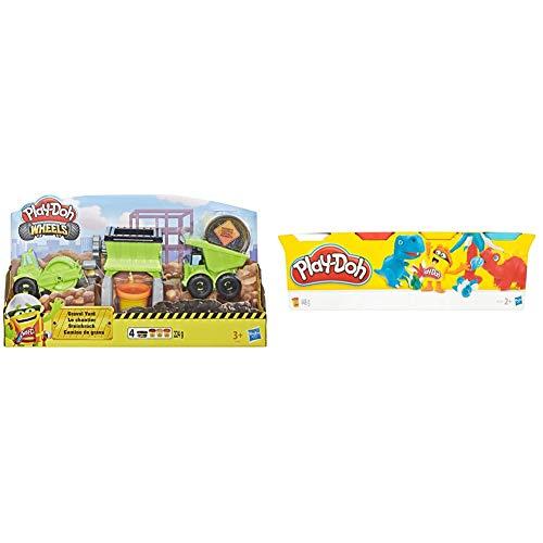 Hasbro Play-Doh-Wheels Il Cantiere, Playset con Pasta da Modellare, Multicolore, E4293Eu4 & Play-Doh - 4 Vasetti Singoli, B5517Eu4, Colori Assortiti