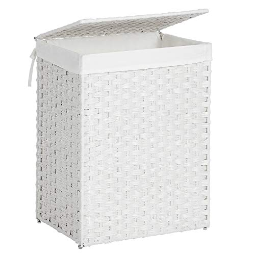 SONGMICS Handwoven Laundry Hamper Synthetic Rattan Laundry Basket with Removable Liner Bag Clothes Hamper with Handles for Laundry Room White ULCB51WT