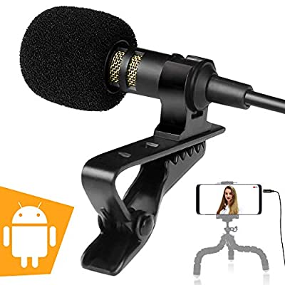 Lavalier Cell Phone Microphone for Video Recording - Wired Lavalier Microphone - Cell Phone Microphone for Android - Lapel Clip On Microphone