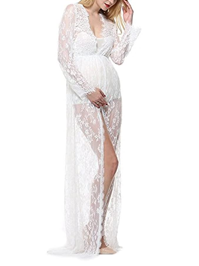 Pregnancy Dress for Photography, Split Front Maternity Maxi Dress Off Shoulder Pregnancy Gown for Photo Shoot