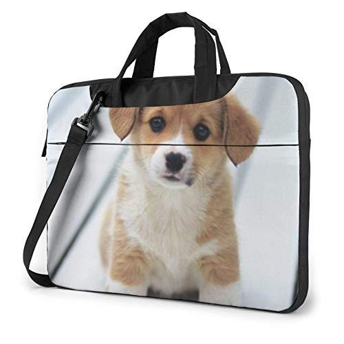 Bolso Bandolera Impermeable para Ordenador portátil, Bonito Estuche con Estampado de Perro Cachorro, Funda para Ordenador portátil de 14 Pulgadas, maletín para Ordenador portátil