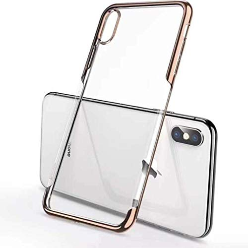 """Compatible with iPhone XR Case,[6.1"""" ONLY] Metal Electroplate Plating Smart Clear View Ultra Hybrid Anti-Scratch Shock Absorption Transparent Back Anti-Scratch Heavy Duty Protection Cover Case -Gold"""