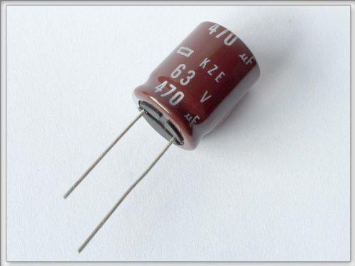 Nippon Elko Kondensator 63V 470uF (M) 105°C radial (50 Stück) Modell: KZE1_50