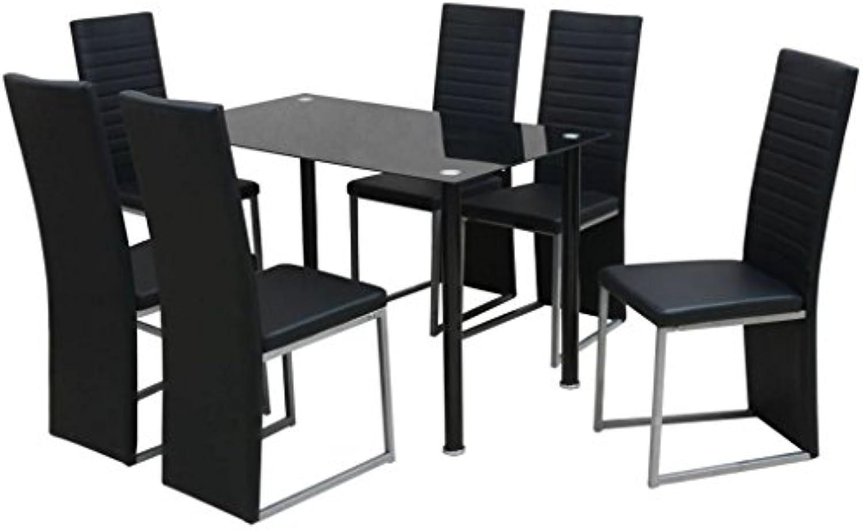 Festnight- 7-TLG. Essgruppe Esstisch mit 6 stühlen  Moderne Tischset Esstischgruppe Sitzgruppe Stuhlset Glas Metall schwarz