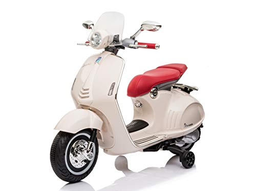 Mondial Toys Moto ELETTRICA per Bambini Vespa 946 Piaggio 12V con Sedile in Pelle LUCI Suoni Bianco