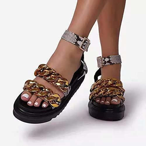 Btytu Sandalias con Punta Abierta Mujer Mules De Cuña Suave Cuero Respirable Zapatos con Plataforma De Verano Sandalias con Estampado De Serpiente Y Cadena De Metal,Oro,37