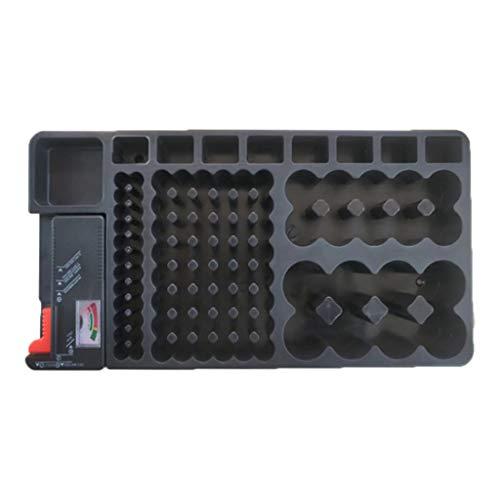 perfk Batterie Organizer Aufbewahrungsbox Tragetasche Batteriebox Akku Box mit BT-168 Batterie Testgerät für AAA AA 9V C D aus PP