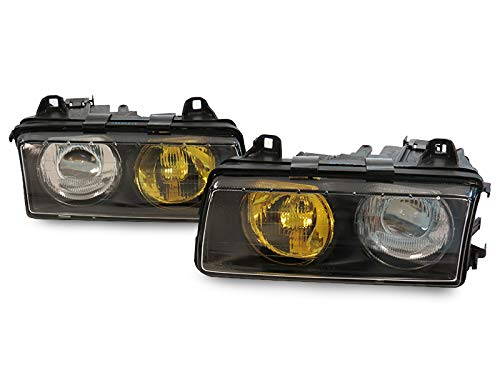 DEPO HELLA STYLE EURO LHD PROJECTOR HEADLIGHT SET - OUTER YELLOW/INNER CLEAR LENS Compatible and Fits for 1992-1999 BMW E36
