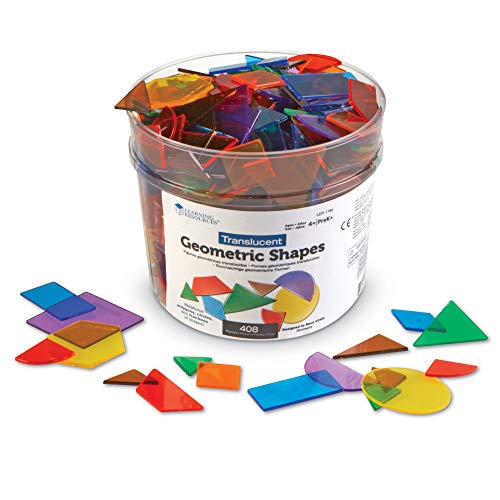 Learning Resources Translucent Geometric Shapes, Early Geometry Skills, Classroom Accessories, Teacher Aids, 408 Pieces, Grades Pre-K+, Ages 4+, Multicolor