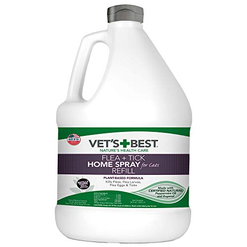 Vet's Best Flea and Tick Home Spray for Cats | Flea Treatment for Cats and Home | Flea Killer with Certified Natural Oils | 96 Ounces Refill