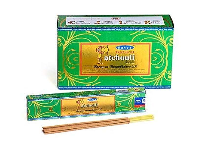 またなのでホステスSatyaナチュラルPatchouli Incense Sticks 15グラムパック、12カウントin aボックス
