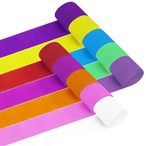 Krepppapier Bunt Kreppbänder 20 Rollen Länge 25m x Breite 4.5cm Krepp Deko für Geburtstagsfeier Klassenparty und Abschlussfeier 10 Farben