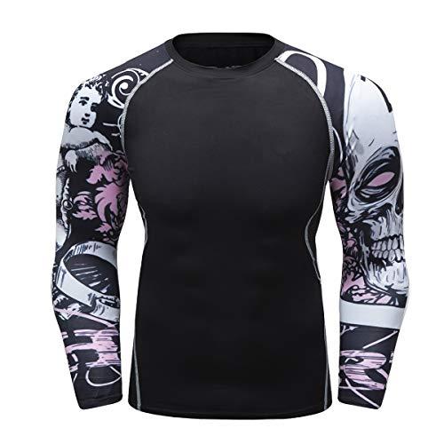 Fanii Quare Men's Soft Fit Long Sleeve Workout Rashguard Cool Dry Compression Fitness Shirt Pink Skull M