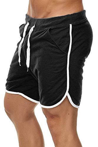 Happy Clothing Kurze Herren Hose Shorts Bermuda Jogginghose Sommer Pants Stoffhose Sweathose, Größe:M, Farbe:Schwarz