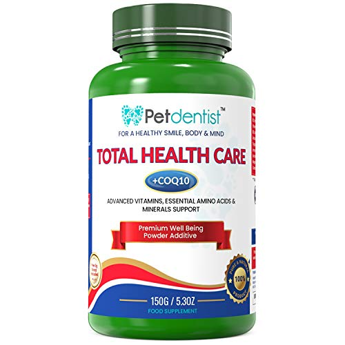 Petdentist Essential Cat Dog Vitamins and Supplements, Amino Acids, Minerals and Enzymes Total Health Powder Best for Multivitamins for Dogs Dental Care Joints Skin Immunity Heart Digestion- 150g